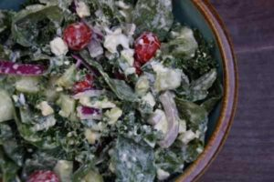 Kale and Spinach Salad With Feta Cheese